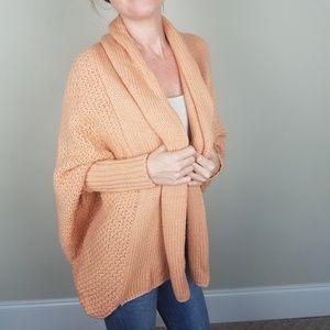 Cozy Knit Batwing Peach Cardigan One Size A1001